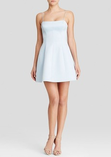 Cynthia Rowley Dress - Sleeveless Square Neck Bonded Satin Fit and Flare