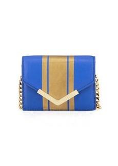 Cynthia Rowley Ella Striped Leather Mini Crossbody Bag, Cobalt/Gold