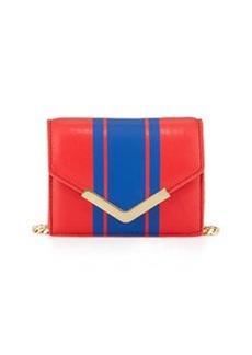 Cynthia Rowley Ella Striped Leather Mini Crossbody Bag, Coral/Cobalt