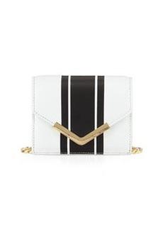 Cynthia Rowley Ella Striped Leather Mini Crossbody Bag, White/Black