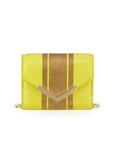 Cynthia Rowley Ella Striped Leather Mini Crossbody Bag, Yellow/Gold