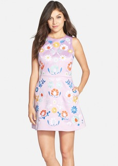 Cynthia Rowley Embroidered Satin Fit & Flare Dress