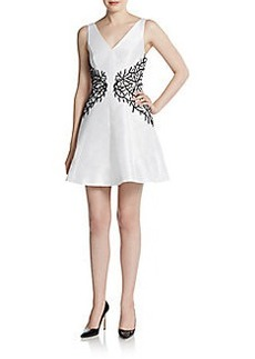 Cynthia Rowley Embroidered Sequin Fit-And-Flare Dress