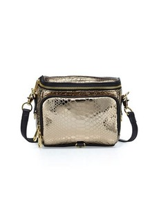 Cynthia Rowley Finn Metallic Snake-Print Camera Bag