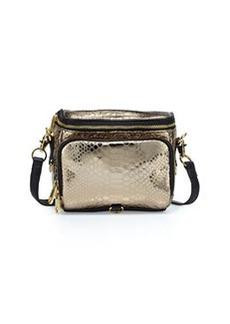 Cynthia Rowley Finn Metallic Snake-Print Camera Bag, Bronze/Black