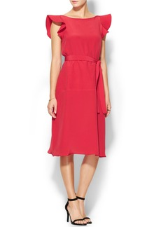 Cynthia Rowley Flutter Sleeve Belted Dress