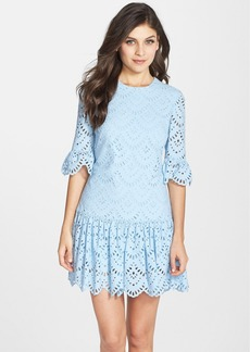 Cynthia Rowley Gathered Cotton Eyelet Fit & Flare Dress