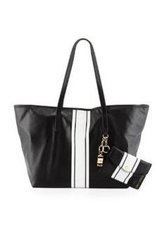 Cynthia Rowley Hayden Striped Leather Tote Bag, Black/White