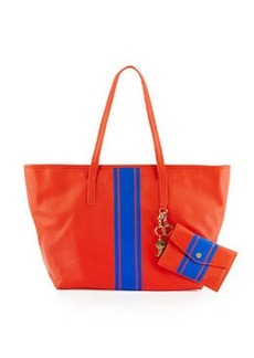 Cynthia Rowley Hayden Striped Leather Tote Bag, Coral/Cobalt