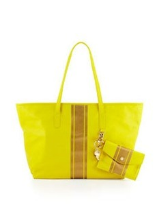 Cynthia Rowley Hayden Striped Leather Tote Bag, Yellow/Gold