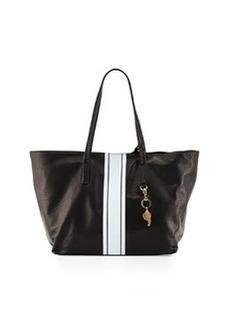 Cynthia Rowley Hayden Striped-Trim Leather Tote Bag, Black