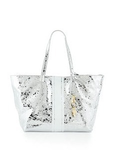 Cynthia Rowley Hayden Striped-Trim Leather Tote Bag, Silver