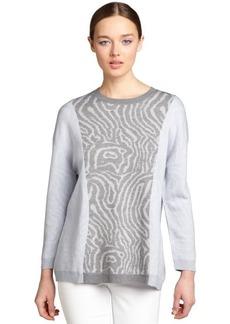 Cynthia Rowley heather grey and pale blue printed wool crewneck sweater