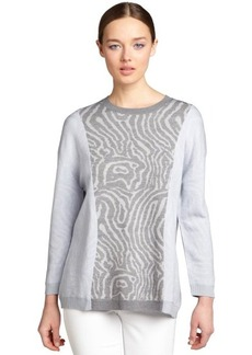 Cynthia Rowley heather grey and pale blue printed wool crewneck sweater