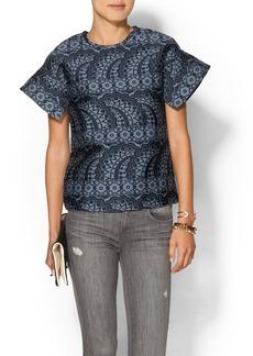 Cynthia Rowley Jacquard Flutter Sleeve Top
