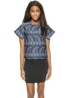 Cynthia Rowley Jacquard Flutter Sleeve Top