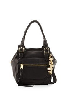 Cynthia Rowley Juno Medium Leather Satchel Bag, Black
