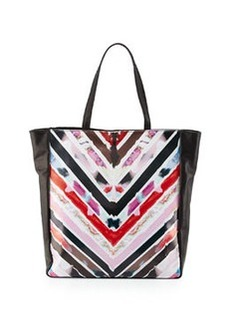 Cynthia Rowley Kai Chevron-Print Leather Tote Bag, Black/Multicolor
