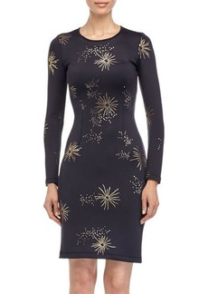 Cynthia Rowley Metallic Galaxy-Print Long-Sleeve Scuba Dress