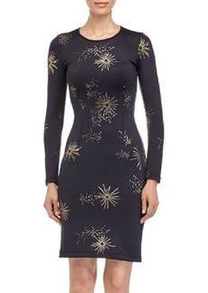 Cynthia Rowley Metallic Galaxy-Print Long-Sleeve Scuba Dress, Black/Gold