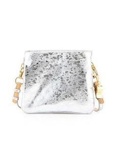 Cynthia Rowley Nixie Metallic Leather Crossbody Bag, Silver/Vachetta