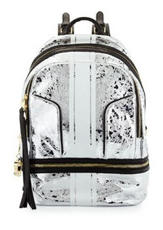 Cynthia Rowley Pebbled Leather Brody Backpack, Silver/Black