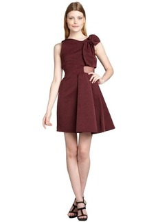 Cynthia Rowley plum ribbed cotton blend sheer silk paneled 'Ottoman' dress