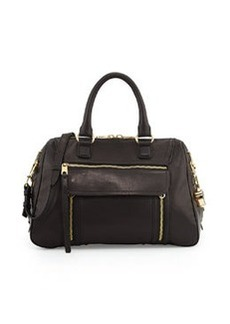 Cynthia Rowley Reece Leather Satchel Bag, Black