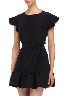 Cynthia Rowley Ruffle-Trim Belted Flounce Dress, Black