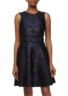 Cynthia Rowley Scroll-Design Fit-and-Flare Dress