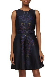 Cynthia Rowley Scroll-Design Fit-and-Flare Dress, Black