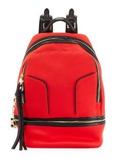 Cynthia Rowley Scuba & Leather Brody Backpack, Red-Orange/Black