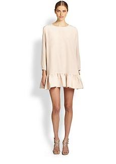 Cynthia Rowley Silk Crepe De Chine Flounced Dress
