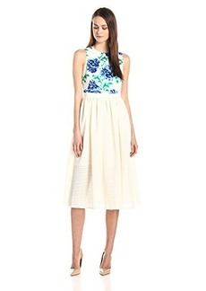 Cynthia Rowley Women's Bonded Mesh Dress with Neoprene Floral Bodice