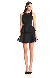 Cynthia Rowley Women's Bonded Mesh Mini Dress with Peplum and Open Back