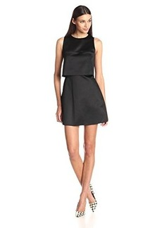 Cynthia Rowley Women's Bonded Satin Mini Dress with Popover