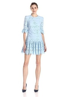 Cynthia Rowley Women's Embroidered Poplin Long Sleeve Dress