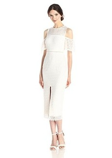 Cynthia Rowley Women's Long Dress In Geo Lace with Front Slit