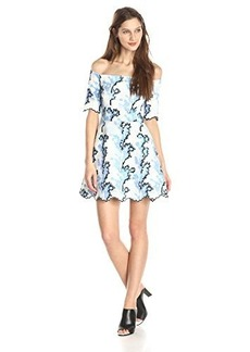 Cynthia Rowley Women's Neoprene Off The Shoulder Printed Fit and Flare Dress