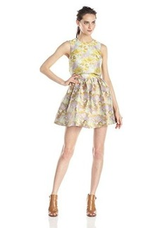Cynthia Rowley Women's Tropical Jacquard Dress with Contrast Popover