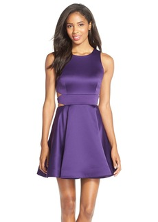 Cynthia Rowley Cutout Side Satin Fit & Flare Dress