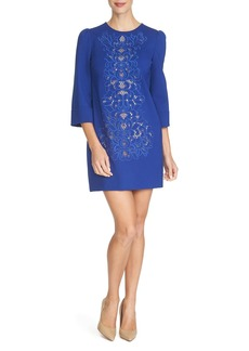 Cynthia Steffe 'Anya' Embroidered Ponte Shift Dress