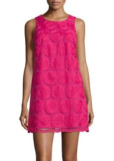 Cynthia Steffe Arlington Floral-Embroidered Sleeveless Shift Dress, Peony
