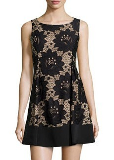 Cynthia Steffe Azura Floral-Lace Fit-and-Flare Dress, Rich Black