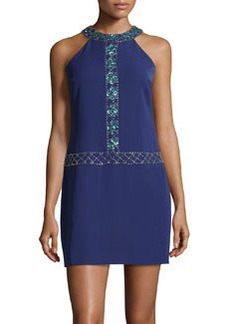 Cynthia Steffe Beaded Jersey-Knit Sheath Dress, Blueprint