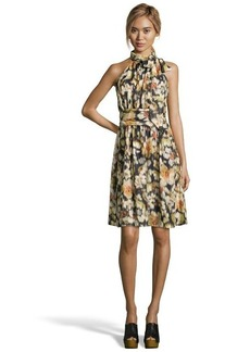 Cynthia Steffe black and yellow floral printed satin 'Meera' tie-neck dress