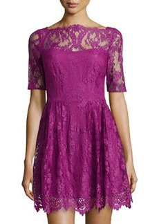 Cynthia Steffe Blay Floral Lace Flare Dress, Hollyhock