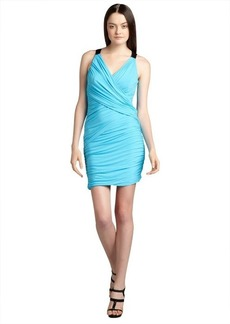 Cynthia Steffe blue atoll criss-crossed 'Harper' stretch jersey knit sheath dress