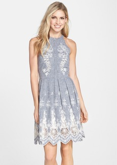 Cynthia Steffe Embroidered Chambray Fit & Flare Dress