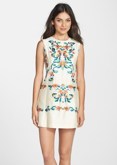 Cynthia Steffe Embroidered Dupioni Shift Dress